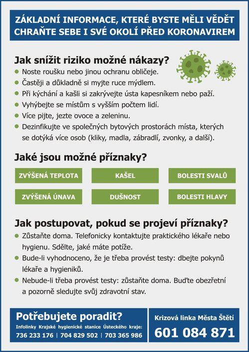 Základní informace: Chraňte sebe i své okolí před koronavirem
