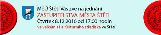 Město Štětí Vás zve na jednání Zastupitelstva Města Štětí, které se bude konat ve čtvrtek dne 8.12.2016 od 17:00 hodin ve velkém sále Kulturního střediska ve Štětí