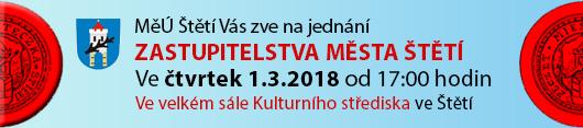 Město Štětí Vás zve na jednání Zastupitelstva Města Štětí, které se bude konat ve čtvrtek dne 1.3.2018 od 17:00 hodin ve velkém sále Kulturního střediska ve Štětí